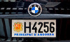 Andorra la Vella, Andorra: Andorra license plate with coat of arms on the back of a BMW - photo by M.Torres