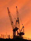 Australia - Melbourne (Victoria): docklands - cranes at sunset (photo by Luca Dal Bo)