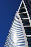 Manama, Bahrain: Bahrain World Trade Center - BWTC - detail of sail shapes on the façade - photo by M.Torres