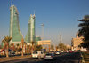 Manama, Bahrain: Bahrain Financial Harbour towers - BFH - looking east on King Faisal Highway - photo by M.Torres