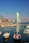 Manama, Bahrain: Bahrain Financial Harbour towers - BFH - view from the fishing harbour - Ref Island on the left - One Bahrain development - photo by M.Torres