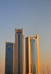 Manama, Bahrain: Abraj Al Lulu residential towers - Gold Pearl, Silver Pearl and the Black Pearl towers - freehold luxury apartments - architect Jafar Tukan - photo by M.Torres