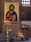 Bulgaria - Sofia: Christ - Orthodox icon and candles in Church of St Sofia (photo by J.Kaman)