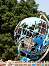 Ouagadougou, Burkina Faso: globe at the center of the UN Roundabout / Rond-point des Nation Unies - Nelson Mandela Avenue - photo by M.Torres