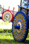 Sarchi, Valverde Vega, Alajuela province, Costa Rica: wheel - Two Painted oxcarts - photo by B.Cain