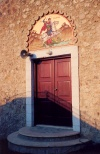 Cyprus - Akamas region - Paphos district - St George over a church door - photo by Miguel Torres