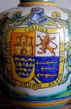 Santo Domingo, Dominican Republic: Alcazar de Colon - kitchen - vase with coat of arms and mention of the 'new world' - Ciudad Colonial - Unesco World Heritage - photo by M.Torres