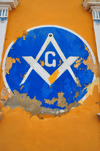 Puerto Plata, Dominican republic: Masonic Square and Compasses - symbolism at the Malecón - Restauración masonic lodge - Respetable Logia Restauración al Or.·. de Puerto Plata - photo by M.Torres