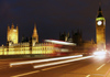 London: Houses of Parliament and traffic blur - night (photo by K.White)