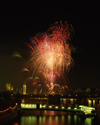London: Big Ben, fireworks, River Thames at Festival pier - photo by A.Bartel