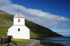 Kirkjubøur, Streymoy island, Faroes: Olavskirkjan - Saint Olav's church - built in 1110, this parish church was during the Middle Ages the cathedral of the Faroes and the burial site for bishops - photo by A.Ferrari