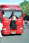 Germany / Deutschland - Berlin: parade - truck with Count Dracula and almost topless decoration / LKW - photo by M.Bergsma