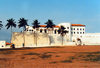 Cape Coast, Ghana / Gana: coconut trees and the castle - landside - Portuguese fort - photo by G.Frysinger