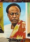 Accra, Ghana: Centre for National Culture - portrait of Kwame Nkrumah, first president of the Gold Coast, later called Ghana - photo by G.Frysinger