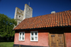 Gotland - Visby: along Murgatan, house and tower - photo by A.Ferrari