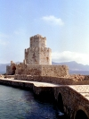 Greece - Koróni ( Peloponnese): Bourtzi islet and tower - photo by T.Marshall