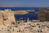 Greece - Rhodes island - Lindos - Acropolis - Aegean sea view - photo by A.Dnieprowsky