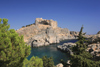 Greece - Rhodes island - Lindos - St.Paul's bay and the fortress - photo by A.Dnieprowsky