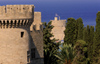 Greece - Rhodes island - Rhodes city - St George's Tower - view of Grand Masters Palace - walls - photo by A.Dnieprowsky
