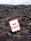 Hawaii island - Kilauea volcano: relic in thelava flow - no parking sign - Hawaii Volcanoes National Park - photo by R.Eime