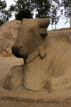 India - Kanchipuram (Tamil Nadu): Nandi bull, the white bull which Shiva rides- religion - Hinduism - Hindu mythology - Itihasa - photo by W.Allgöwer