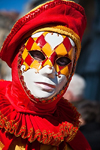 Carnival costumes, Carnival participant, Red costume & Mask, Venicve - photo by A.Beaton