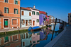 Burano, Colourful Painted Houses,, Reflections, Venice - photo by A.Beaton
