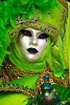 Carnival costumes, Carnival participant, Green costume & Mask, Venicve - photo by A.Beaton
