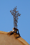 Mount Nebo - Madaba governorate - Jordan: metal cross by Giovanni Fantoni at the basilica - Moses shrine - photo by M.Torres