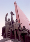 North Korea / DPRK - Pyongyang: Mansudae Grand Monument - the vanguard - red flag - photo by M.Torres