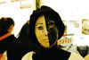 Asia - South Korea - Halloween - divided girl - black and white face - photo by S.Lapides