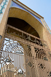 Erbil / Hewler / Arbil / Irbil, Kurdistan, Iraq: gate outside Jalil Khayat mosque, the city's largest mosque - photo by M.Torres