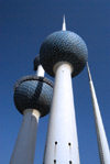 Kuwait city: Kuwait towers - from below - photo by M.Torres