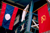 Laos - Lao and Communist Flags - photo by K.Strobel