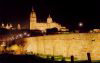 Salamanca, Leon, Spain: nocturnal - Roman bridge over the Tormes river and the Cathedrals / puente romano -  Old City of Salamanca - Unesco world heritage site (photo by M.Torres)