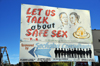 Maseru, Lesotho: safe sex campaign billboard - promotion of condom use - World Health Organization - photo by M.Torres