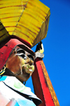 Maseru, Lesotho: painted metal sculpture of a woman with a basket on her head - LNDC Centre - photo by M.Torres