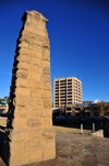 Maseru, Lesotho: Standard Lesotho Bank and War Memorial pillar seen from Palace road - photo by M.Torres
