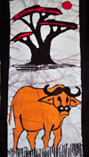 Maseru, Lesotho: painted textile - buffalo and tree - photo by M.Torres