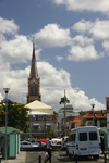 Fort-de-France, Martinique: traffic and the Cathedral's spire - photo by D.Smith
