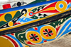 Nouakchott, Mauritania: ornate and colorful prow of a traditional fishing boat at  fishing harbor - fishing vessel built in wood- photo by M.Torres