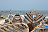 Nouakchott, Mauritania: traditional wooden fishing boats at the fishing harbor - prows facing the Atlantic - Port de Pêche - photo by M.Torres