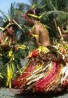 Micronesia - Yap: traditional stick dancers wearing grass skirts or lava lavas