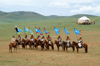 Ulan Bator / Ulaanbaatar, Mongolia: flag bearers - cavalry charge to celebrate the 800th anniversary of the Mongolian state - - photo by A.Ferrari