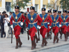 Mongolia - Ulan Bator / Ulaanbaatar: soldiers on parade - traditional uniforms - army - rifles - photo by P.Artus