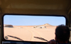 Namibia: Desert through windshield of Landrover, Skeleton Coast - photo by B.Cain