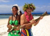 New Caledonia / Nouvelle Calédonie - Noumea - Amédée islet: Kanaka entertainers serenade day (photo by R.Eime)