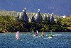 New Caledonia / Nouvelle Calédonie - Nouméa: windsurfing - Tjibaou Cultural Centre - seen across Magenta bay (photo by R.Eime)