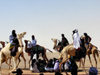 Agadez, Niger: circle of Tuaregs on camels at Mano Dayak airport - photo by A.Obem