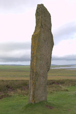 Orkney island, Mainland- Ring of Brodgar (or Brogar) - neolithic henge - Single Stone - photo by Carlton McEachern